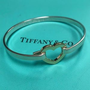 🔴Authentic TIFFANY & CO Gold Heart Sterling Bangle 🔴❤️